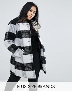 Пальто в клетку без воротника с карманами Junarose - Мульти