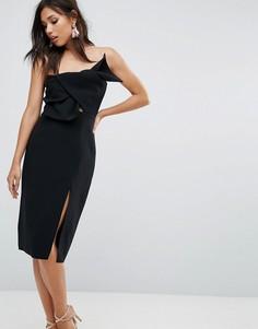 Платье-футляр с бантом и разрезом True Decadence - Черный