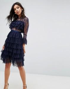 Платье миди с оборками True Decadence - Темно-синий