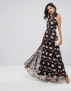 Платье макси с V-образным вырезом и вышивкой True Decadence - Мульти