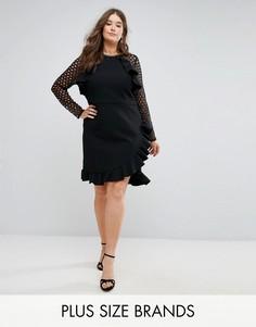 Платье с кружевными рукавами и запахом Truly You - Черный