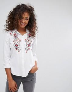 Рубашка с цветочной вышивкой Esprit - Белый