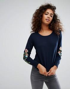 Джемпер с цветочной вышивкой на рукавах Esprit - Темно-синий