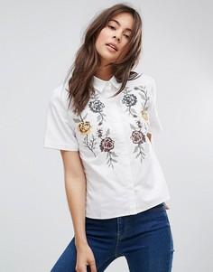 Рубашка с цветочной вышивкой Only - Белый