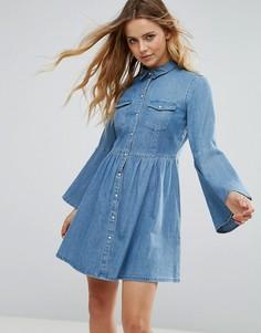 Джинсовое платье с расклешенными рукавами Only - Синий