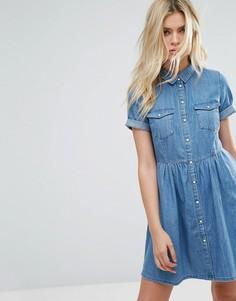 Джинсовое короткое приталенное платье с короткими рукавами Only - Синий