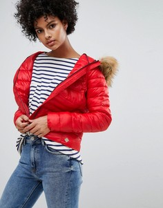 Дутая куртка с искусственным мехом и капюшоном Vero Moda - Красный