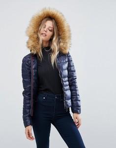 Дутая куртка с искусственным мехом и капюшоном Vero Moda - Темно-синий
