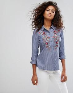 Рубашка с цветочной вышивкой Esprit - Синий