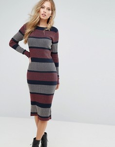 Вязаное платье миди в полоску Vero Moda - Темно-синий