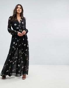 Платье макси с цветочным принтом Vero Moda - Черный