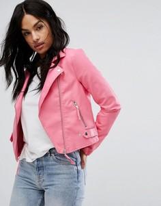 Байкерская куртка из искусственной кожи Vero Moda - Розовый