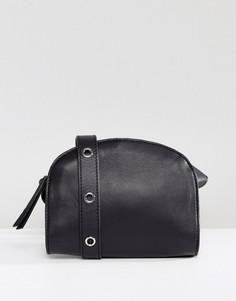 Кожаная сумка через плечо Pieces - Черный