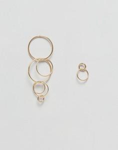 Серьги-подвески с кольцами Pieces - Золотой