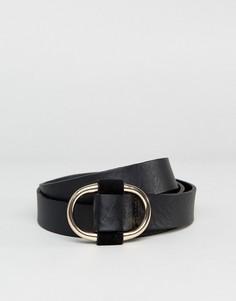 Черный кожаный ремень Pieces - Черный