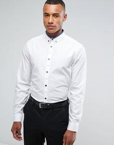 Белая рубашка классического кроя с контрастным темно-синим воротником New Look - Белый