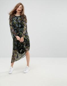 Платье с асимметричным подолом и цветочным принтом Gestuz Ebony - Черный