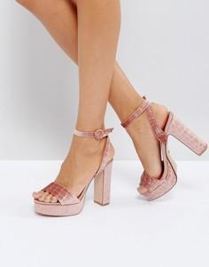 Бархатные босоножки на каблуке и платформе Dune Morisey - Розовый