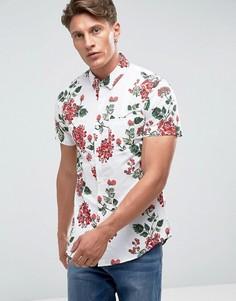 Рубашка с короткими рукавами и тропическим принтом Threadbare - Белый