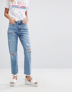 Состаренные джинсы в винтажном стиле New Look - Синий