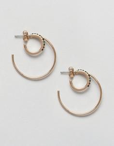 Двойные серьги-кольца Pieces - Золотой