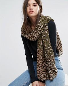 Длинный шарф с леопардовым принтом Pieces - Черный