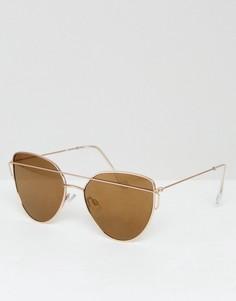 Солнцезащитные очки кошачий глаз с затемненными стеклами Pieces - Золотой