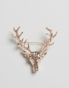 Золотисто-розовая булавка на лацкан с дизайном оленя DesignB London - Золотой