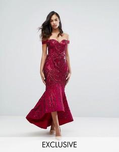 Декорированное пайетками платье макси с открытыми плечами и вырезом в форме сердца Bariano - Красный