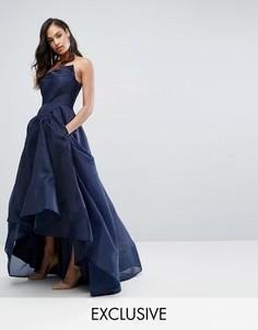 Платье макси с отделкой в стиле оригами Bariano - Темно-синий