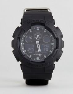 Черные цифровые часы с парусиновым ремешком G-Shock GA-100BBN-1AER - Черный