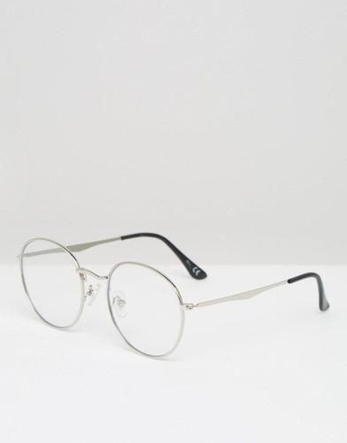 Серебристые очки с круглыми прозрачными стеклами Jeepers Peepers - Серебряный