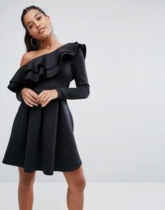 Платье мини на одно плечо с двойной оборкой ASOS - Черный