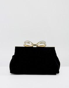 Бросая бархатная вечерняя сумка с бантом Ted Baker - Черный