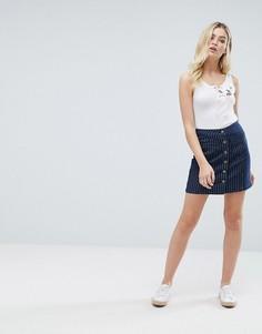 Джинсовая юбка в тонкую полоску на пуговицах Brave Soul Petra - Синий