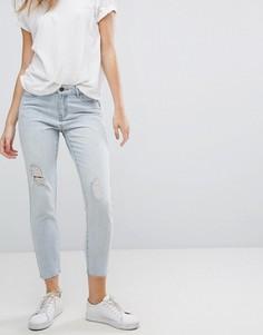 Серебристые джинсы бойфренда с рваной отделкой JDY - Синий