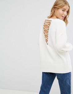 Джемпер крупной вязки с решетчатой отделкой на спине New Look - Кремовый