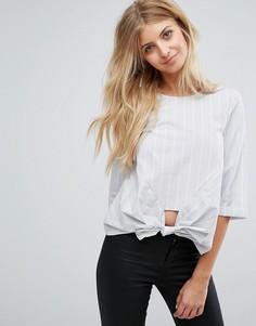 Поплиновая рубашка с завязкой New Look - Серый