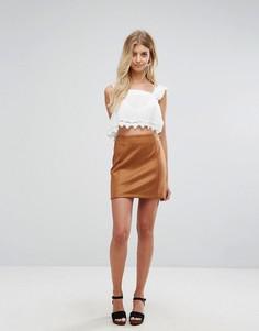 Светло-коричневая мини-юбка из искусственной замши New Look - Рыжий