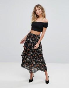 Ярусная юбка миди с цветочным принтом New Look - Черный
