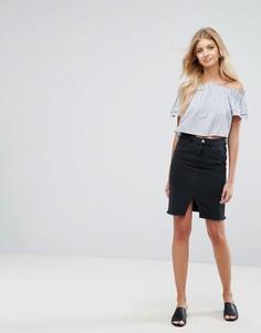 Джинсовая юбка-карандаш New Look - Черный