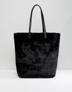 Большая сумка-тоут из искусственного меха New Look - Черный