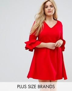 Платье с V-образным вырезом и рукавами клеш Praslin - Красный