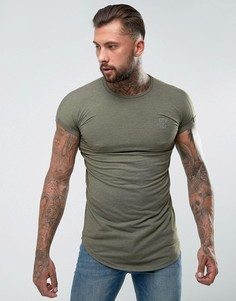 Обтягивающая футболка цвета хаки с отворотами на рукавах SikSilk - Зеленый