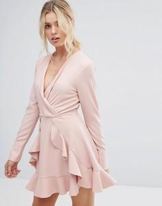 Сверхлегкое платье с длинными рукавами и оборками C/Meo Collective - Розовый