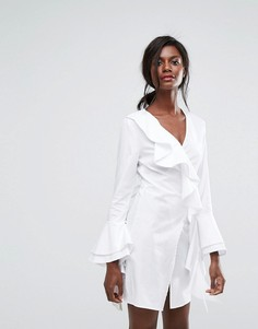 Платье с запахом и оборками C/Meo Collective Still Standing - Белый