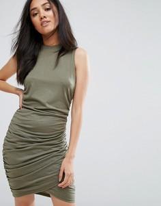 Платье мини цвета хаки с высоким вырезом и запахом AX Paris - Зеленый