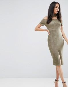 Платье цвета хаки с открытыми плечами и лентой на шее Ax Paris - Зеленый
