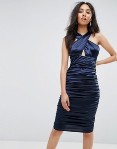 Темно-синее присборенное платье с перекрестными бретелями AX Paris - Темно-синий