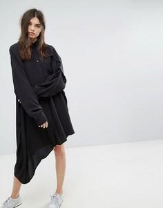 Платье-рубашка с асимметричным подолом Weekday - Черный